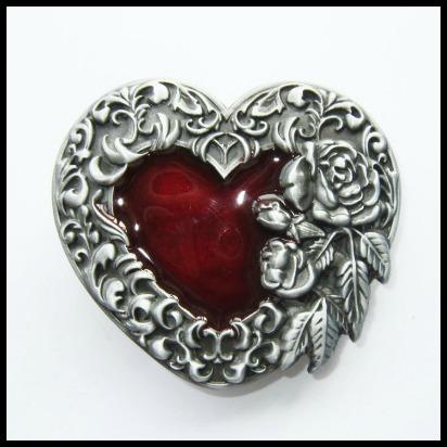 Hebilla corazon rosas